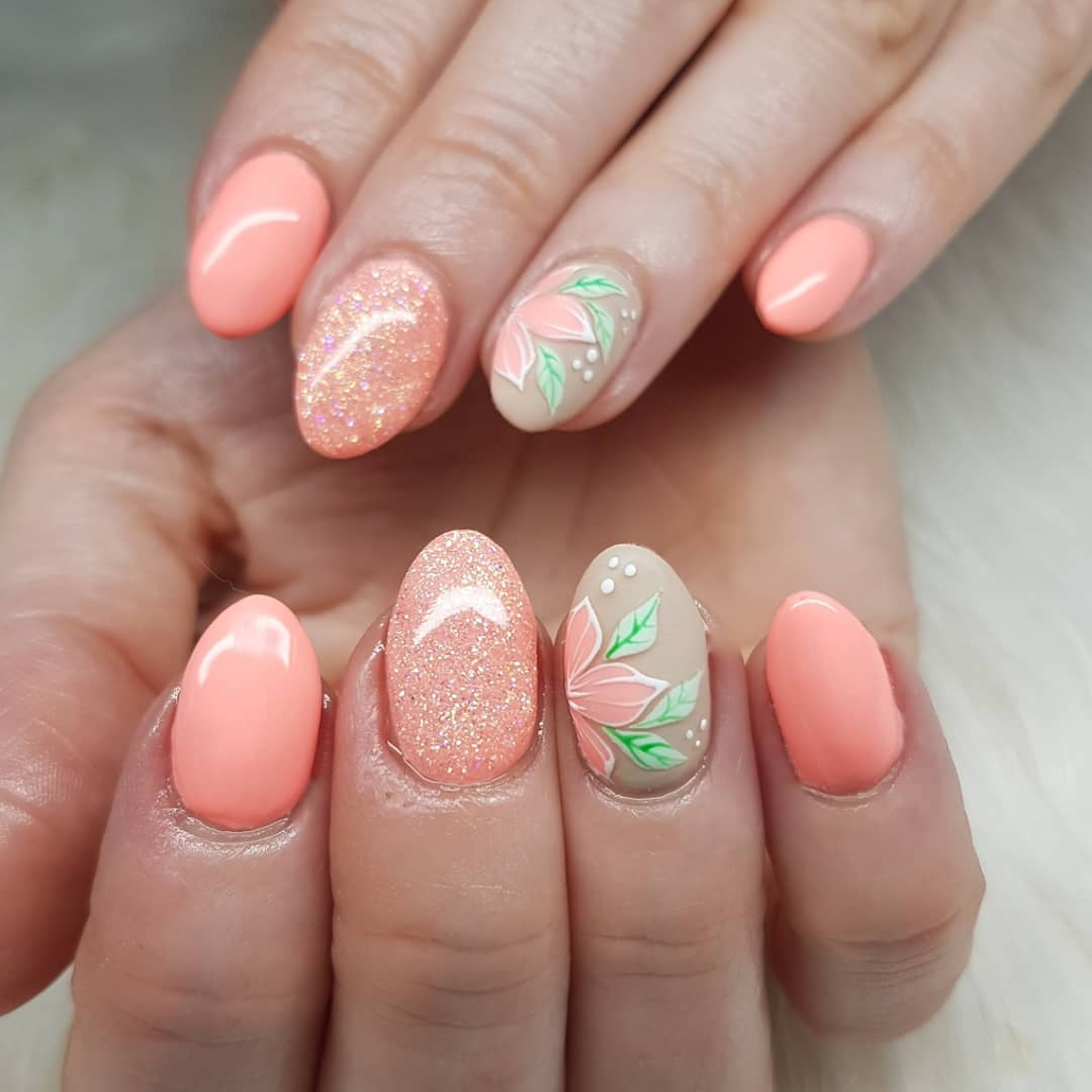 Love this combo Nails made with productsFrom Products used: Confident Coral PeachyUdder PerfectionPrimary GreenPrimary WhiteShorty brush Stripy brushnailsofinstagram