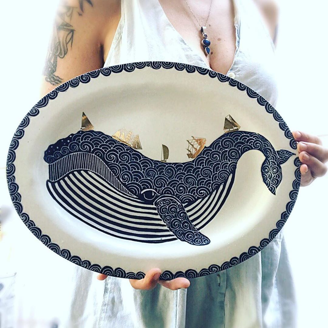 Noticing 33: .questions? buying?please contact the maker *original post *Thar she blows!  Im so excited to finally hold this new platter in my hands! I like the oval shape, what do you all think about that? Its actually a hand built piece. I normally prefer wheelthrowing my porcelain, but in order to get it to be oval, I got all brave and tried something new. The whale is sgraffito through underglaze and then I finished it up with golden ships.  .......  ceramicdesign