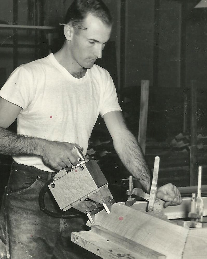 Here's a Happy Father's Day shout out to my dad. Here he is working on a wooden casket at the Boyertown Casket Company during the day to make ends meet, Then came home to farm and be with his family. I will always be grateful for him taking the time to help me make my first potters wheel when I was about 12 years old. It was a 1930's two speed drill in a vice with a bolt through a round board as a wheel head. Shortly after that he then helped me build my second wheel that was a kick wheel kit that needed lots of assembly. Iswas he a perfect father? Nope, thank god. As I get older I understand how much I have learned from both his strengths and his challenges. It was wonderful to see him a few weeks ago and just be with him.teacher