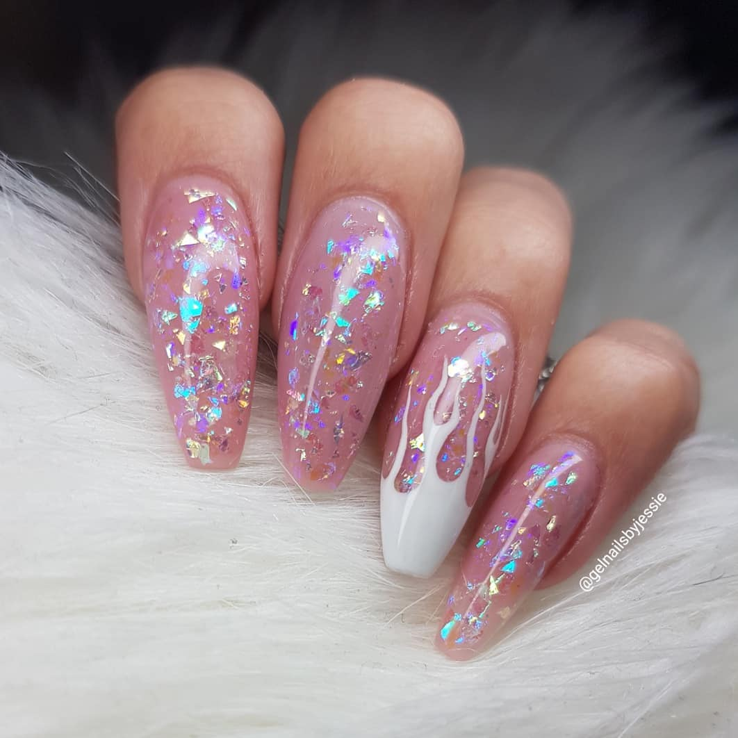 When you want something pink and sparkly and yet.. edgy Nails made with gels From Products used: Cover Pink Sequince Of EventsPrimary White ShortyOvan nr 4instagramnails