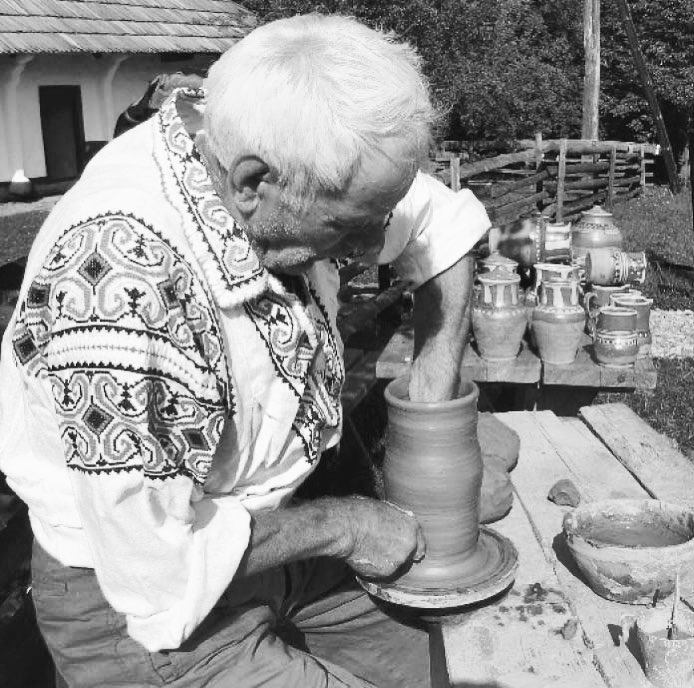 The old peasant was not surrounded by many, glittering and dead things. His objects were few in number, never purely decorative, impersonal, inorganic. He had at his disposal the living thing of his hands that grew the matter, enlivening it through effort and suffering. In this sense, pottery is a tedious task requiring strength, skill, and special knowledge ..source crestinortodox.ro