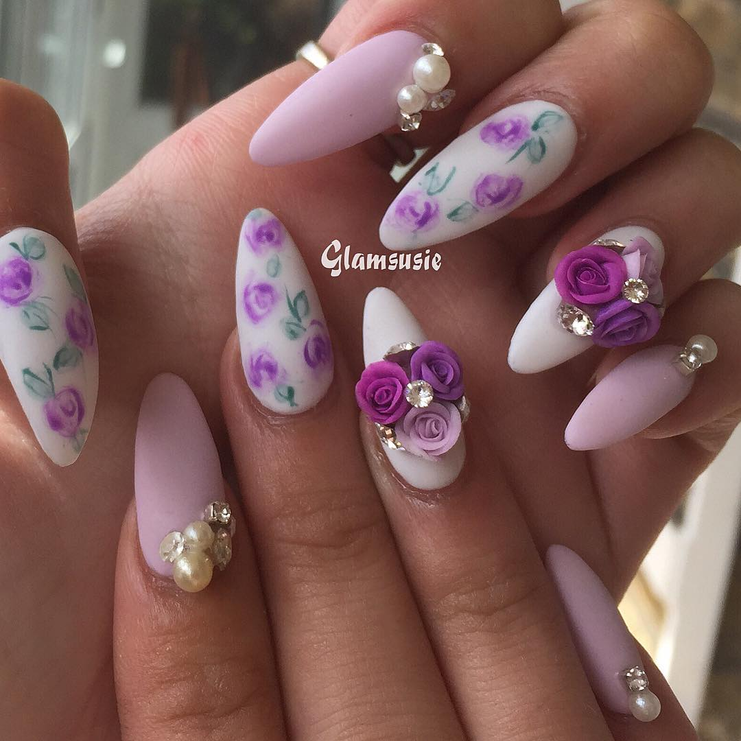 Matte Spring florals with handmade rose clusters available for purchase from my etsy webshop (link is in my bio) Products used: spring break and matte top coat. Use code glam10 when you purchase off to get 10% off  3dnailart