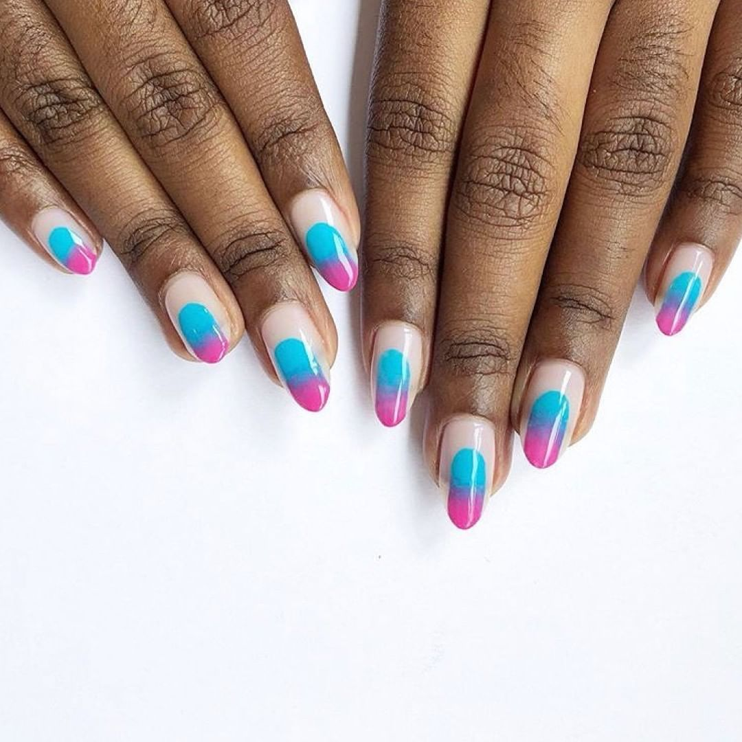 Now THATS a new way of doing ombr. Rg  Shades: Cerulean Sea and Hot Pop Pink
