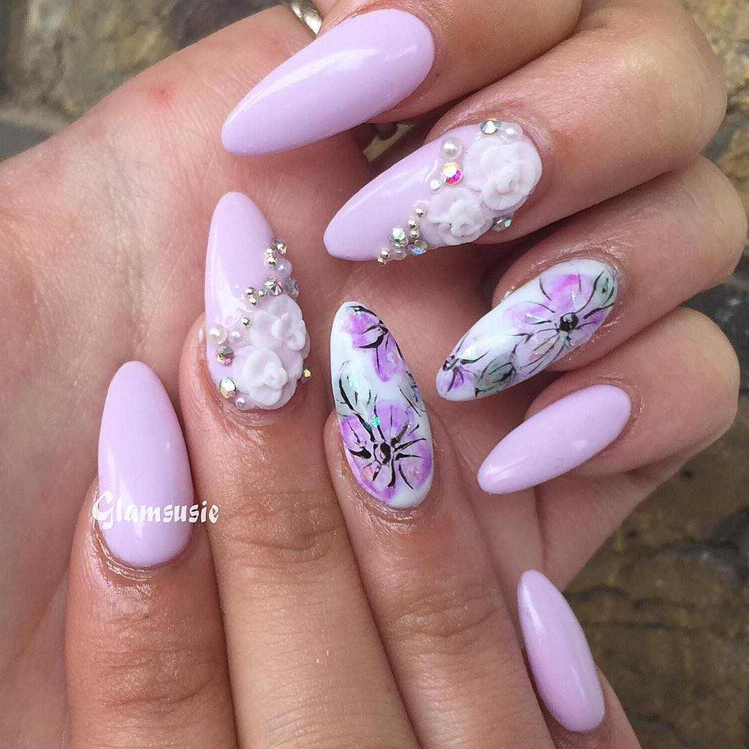 Pretty Spring floral design with watercolour flowers (upcoming tutorial on  3dnailart