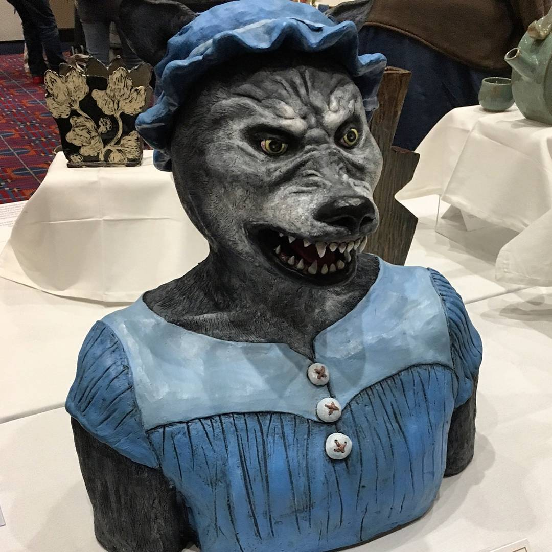 This piece won the Ceramics Monthly subscription Award in the K-12 exhibition at NCECA. This piece is by Gloria Martinez, grade 12 from Arroyo Valley High School. nceca2017