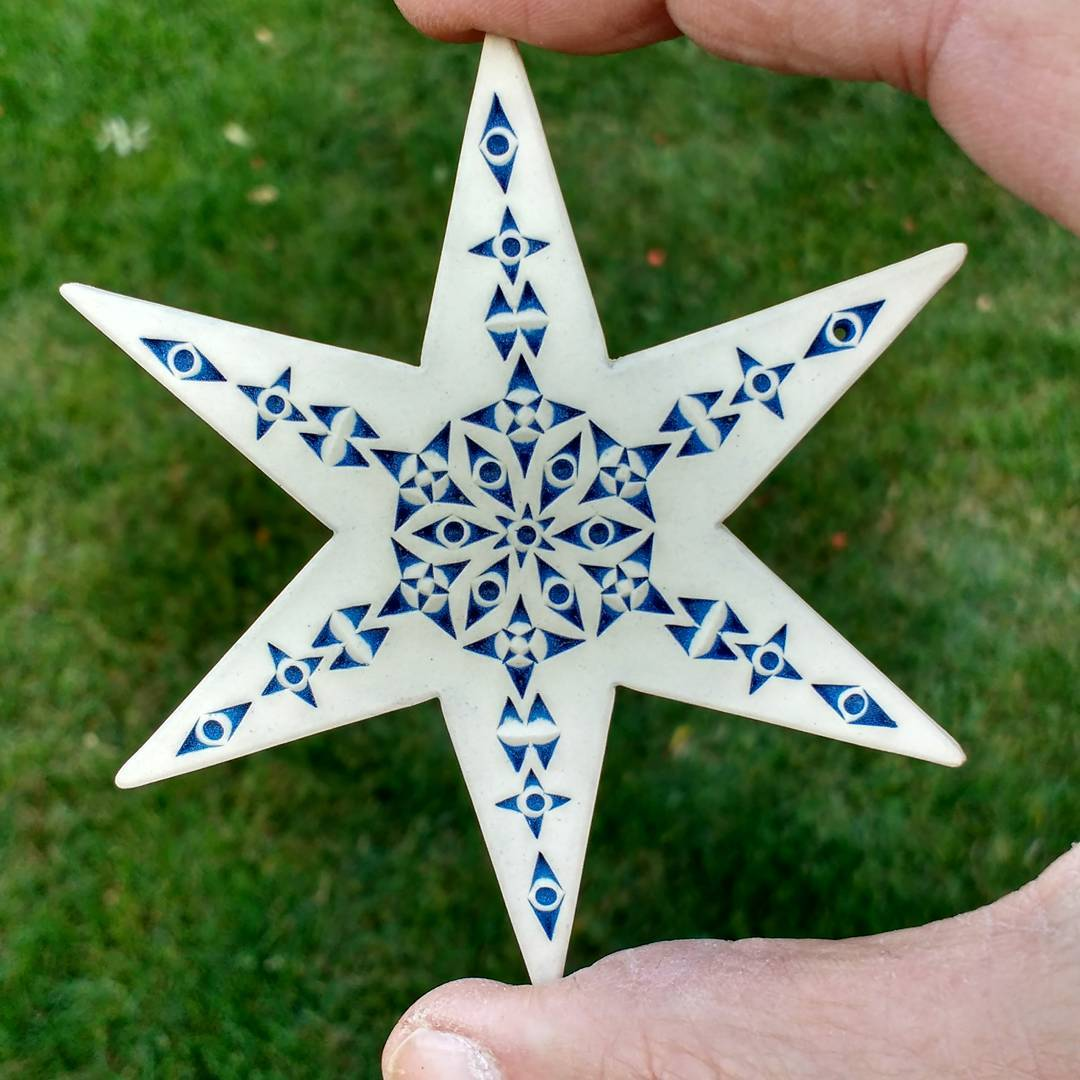 One of my newest star ornaments fresh from the kiln today. Really pleased with this one! star