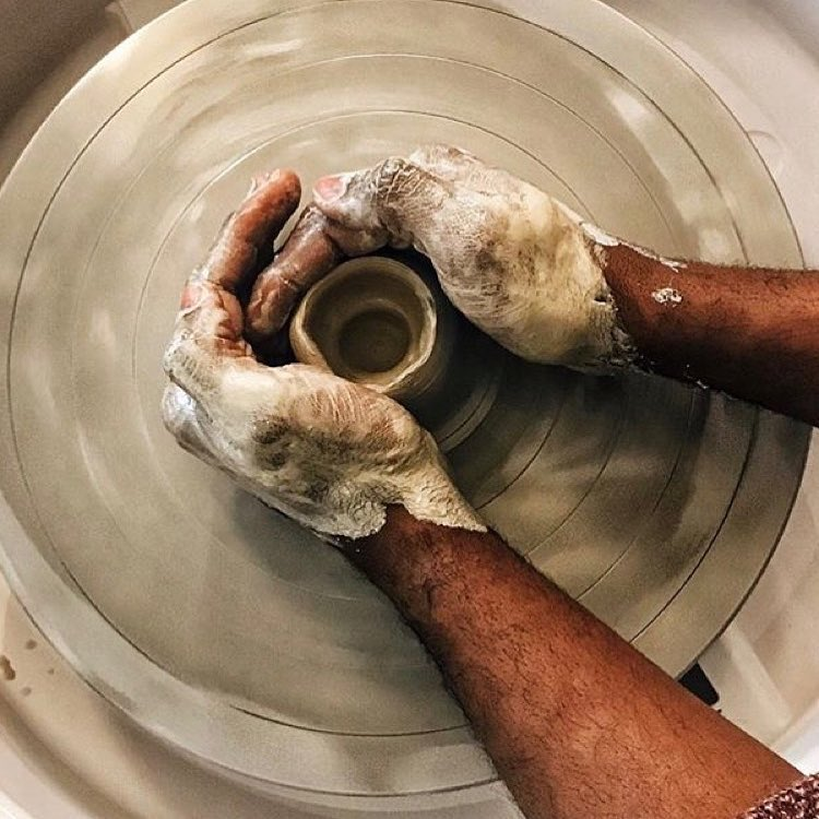 Had the pleasure of having - and a bunch of lovely people visiting the studio today and getting a taste of the art of throwing. Would you like to try to master the art of the pottery wheel? Then go and visit our webshop - we just listed some new dates for our pottery classes    @rubenhughes