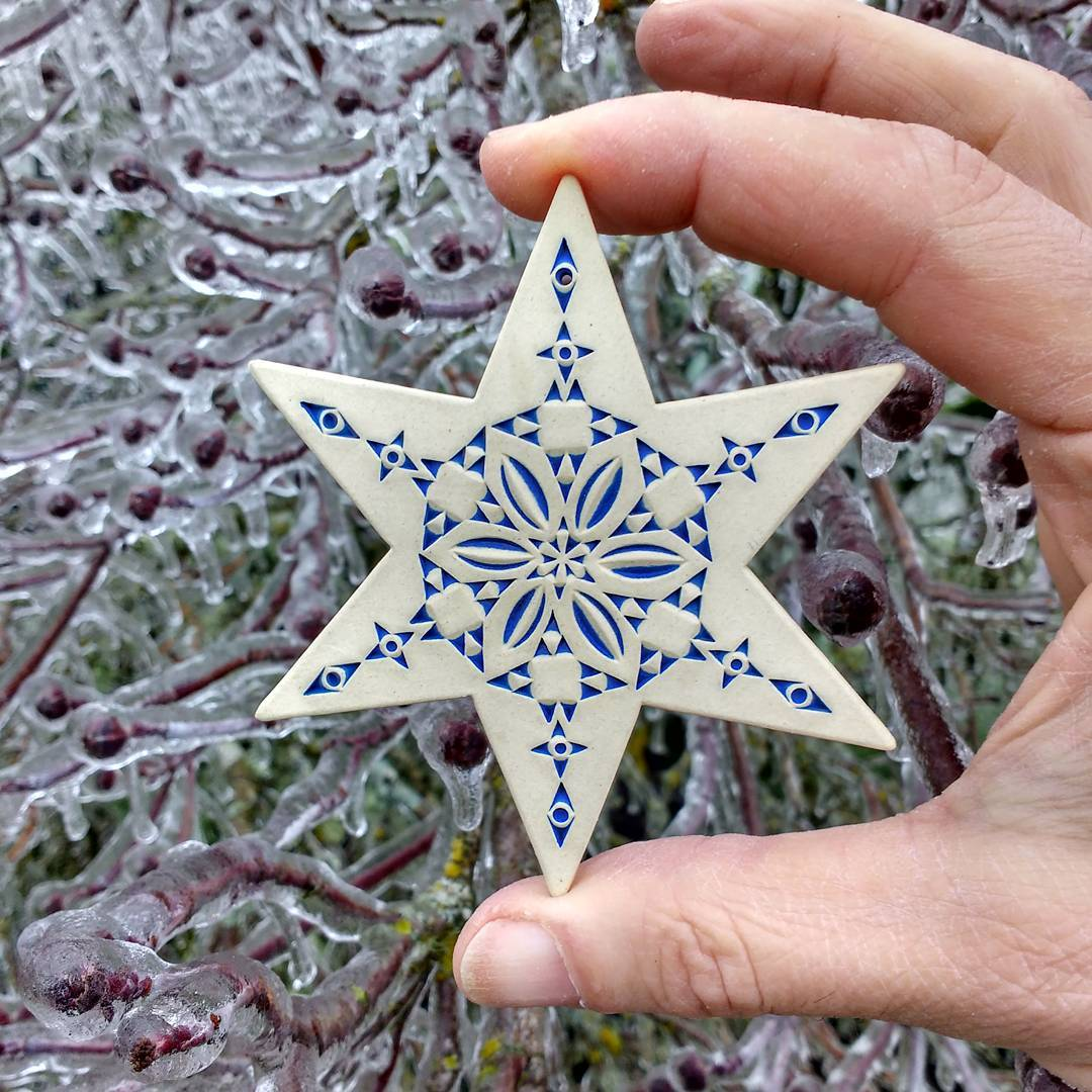A pretty six point star with our ice glazed Dogwood tree this morning as a background. The link to my shop is in my bio. pottery
