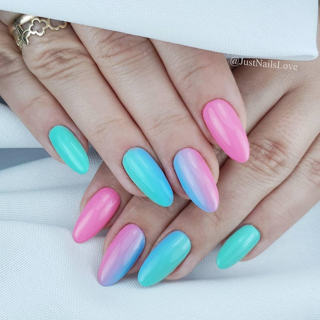 Wiem jak bardzo kochacie ombre  Dzisiaj przedstawiam Wam pikne kolory System Beauty Salon nr: 903 Fresch Mint, 904 Ice Blue oraz 907 Coral Pink .Podoba Ci si takie poczenie kolorw?. pieknepaznokcie