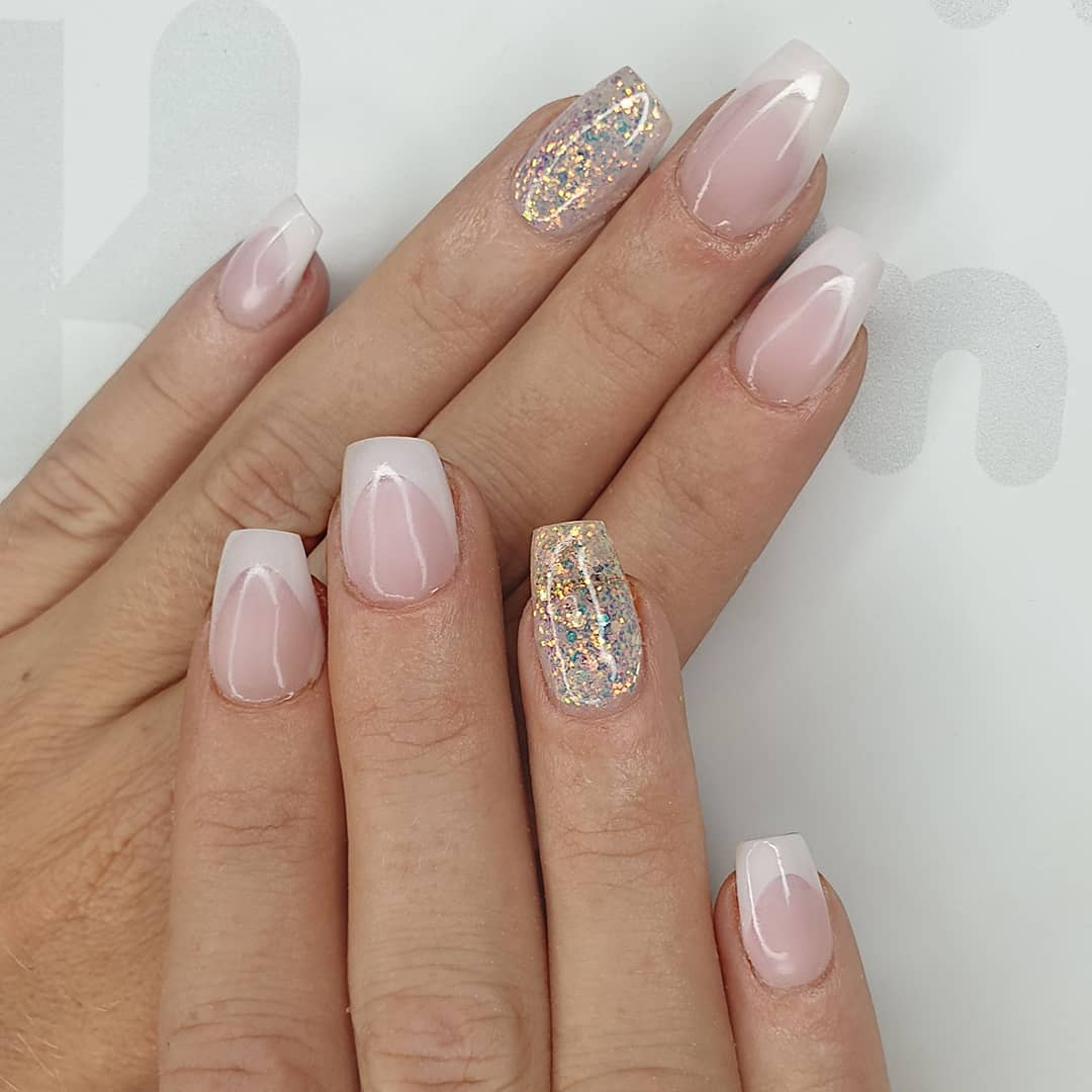 Natural French Using amor  milky pink, flossy and finished with melonmania cuticle oil shabaawards