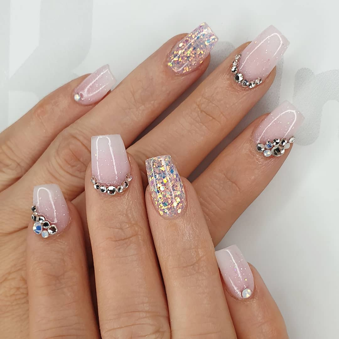 Just add bling Using slush fairy, milky pink  negligee, flossy, crystals from and finished with melonmania cuticle oil shabaawards