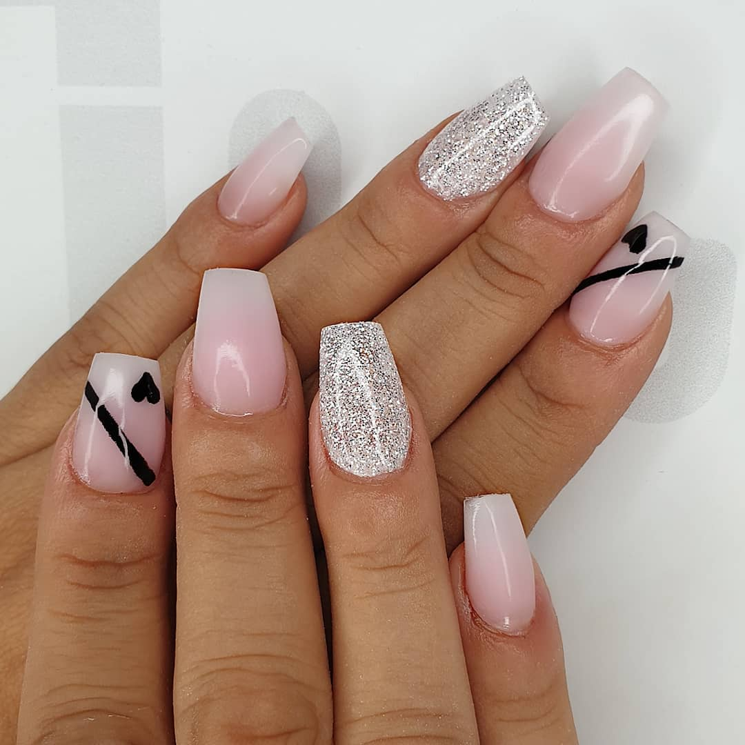 Little black hearts Using amor, milky pink  negligee. angel, seriously black gel polish  finished with melonmania cuticle oil shabaawards
