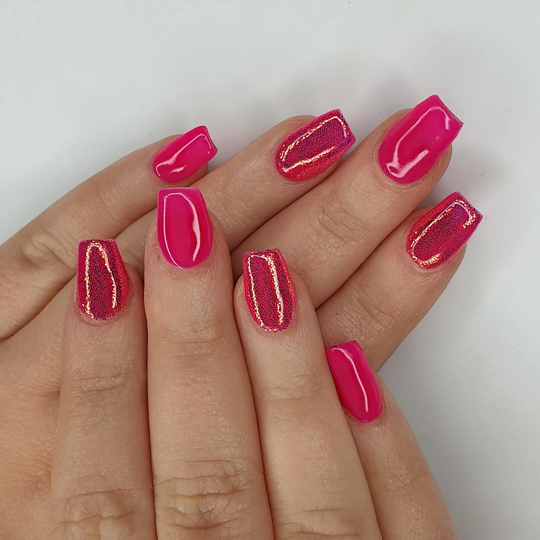 Pink pixels Using crystal glass, gel polish and finished with melonmania cuticle oil shabaawards