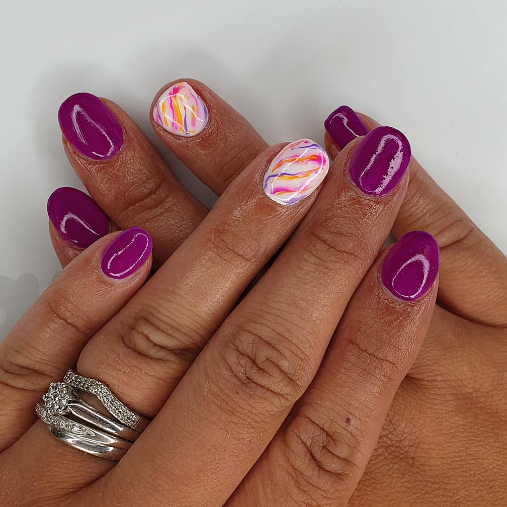 R.E.W.I.N.DUsing bright violet  negligee  gel polish Finished with melonmania cuticle oil shabaawards