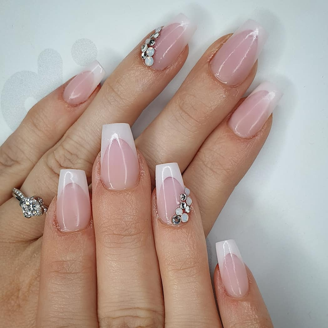Simple and classic for my bride Using amor  milky pink.Crystals from and finished with melonmania cuticle oil shabaawards
