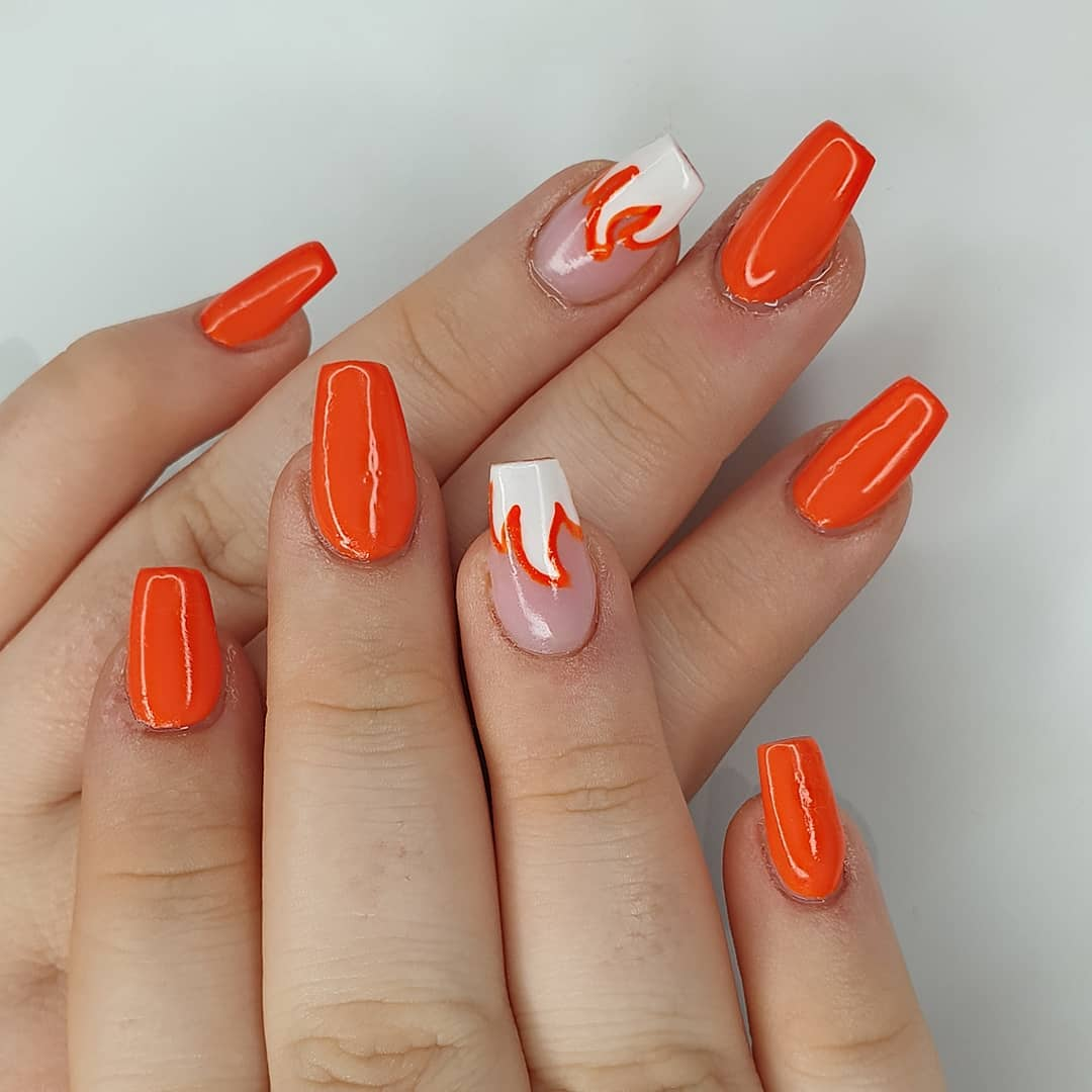 Burn Baby Burn Using amor, gel polish  finished with melonmania cuticle oil shabaawards