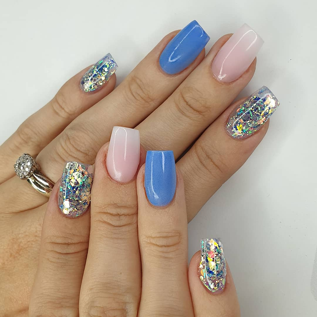 Crystal Seas Using periwinkle, amor, milky pink, aphrodite  crystal glass, a custom mixed blue toned glitter and finished with melonmania cuticle oil shabaawards