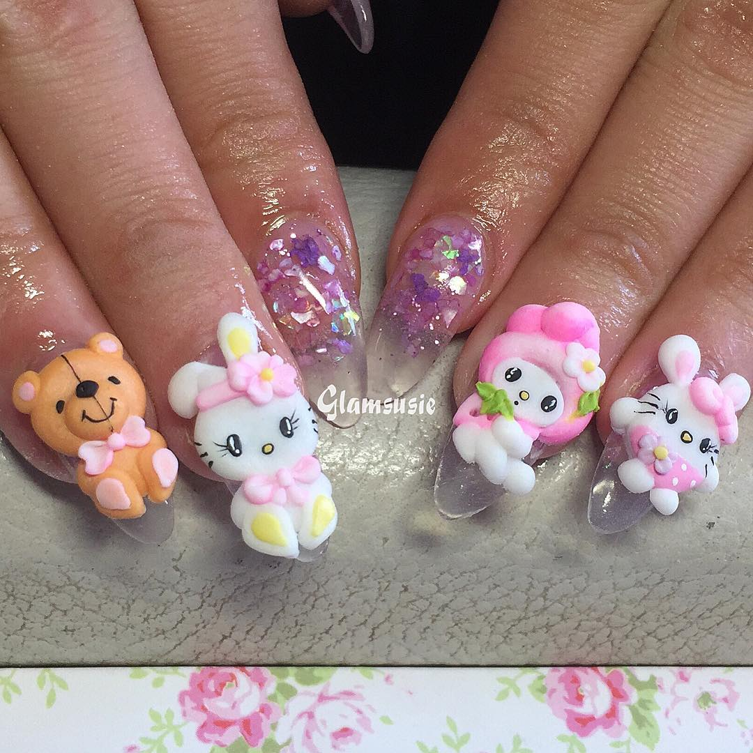 Sweet Easter nails on the beautiful Nicole  3dnailart