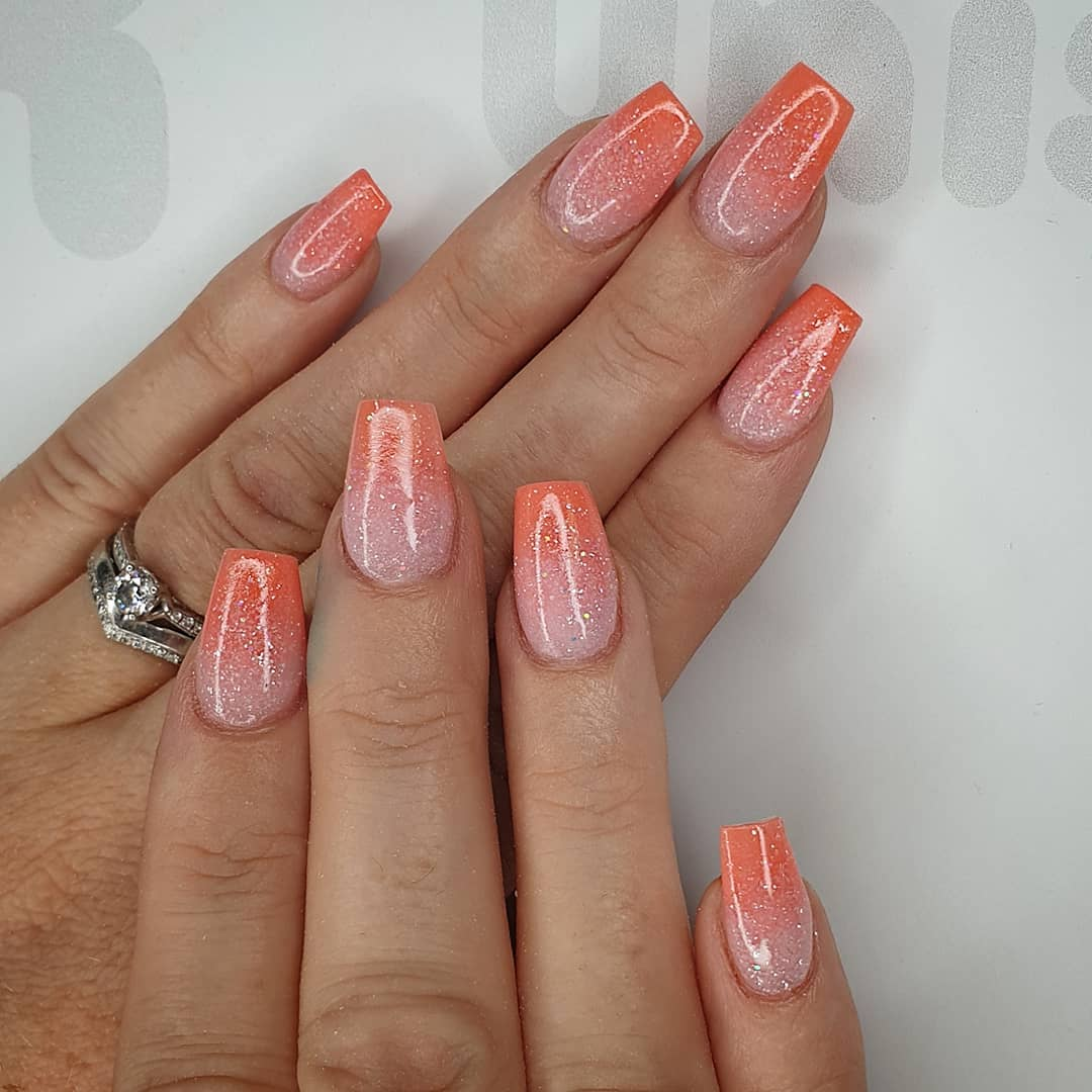 Dipped in Summer Using slush fairy, smashed peach and crystal glass Finished with melonmania cuticle oil shabaawards