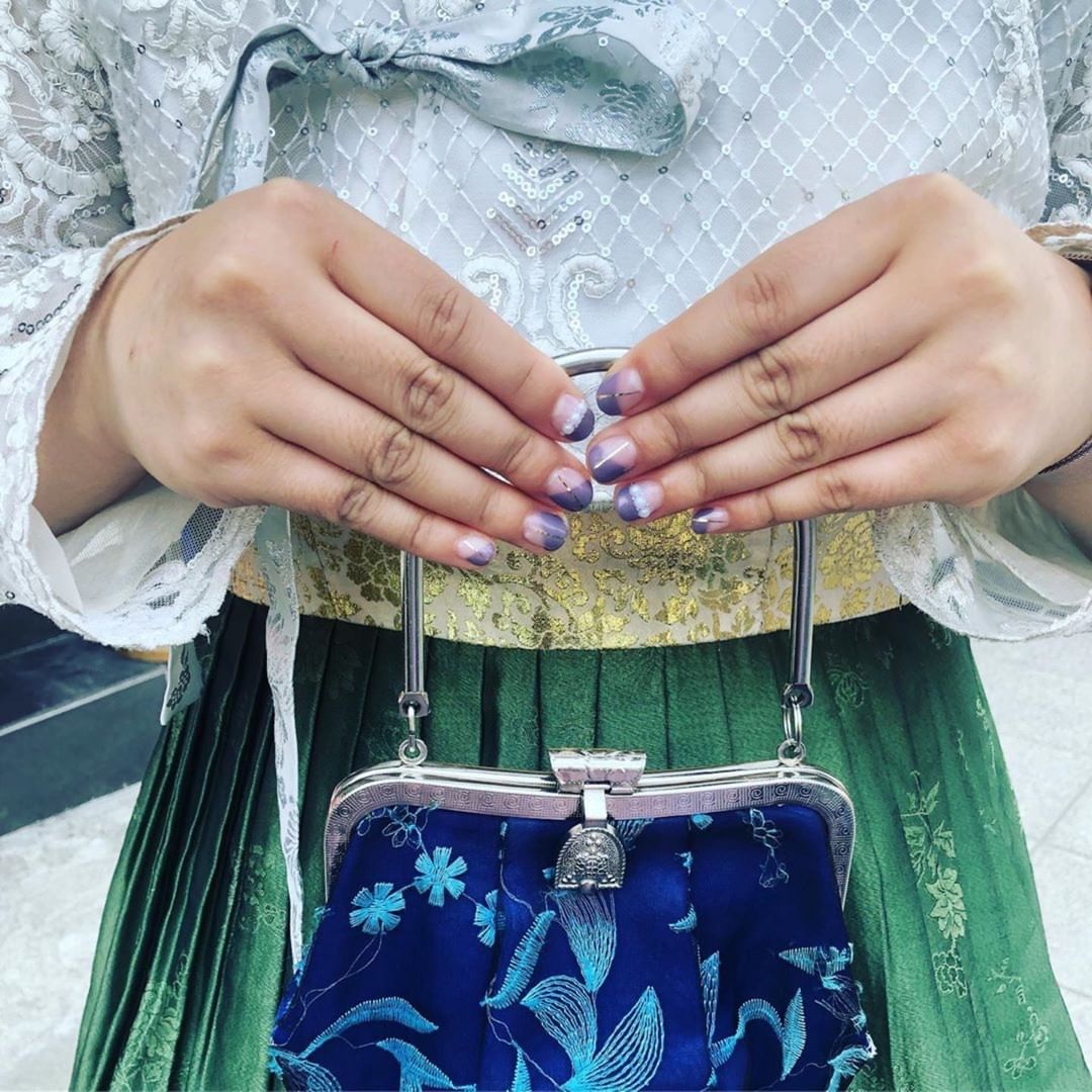 Obsessed with my nail art. This is definitely ART.Last photo: full look in traditional korean hanbok + some amazing ladies I work with  Thanks for the inspo Thanks for helping make an appt. Photo credit: whatsnailingon_unistella