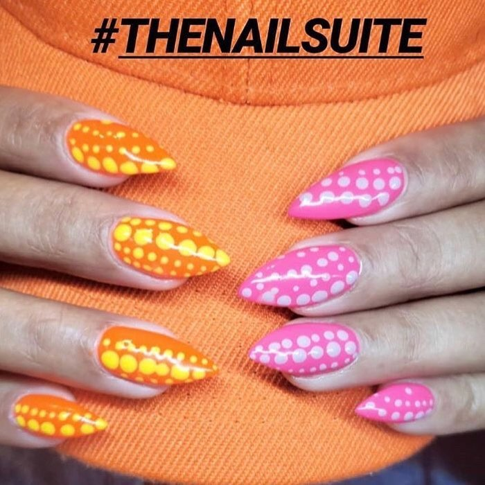 Team Pink or Team Orange?? We love the combo by  nailitdaily