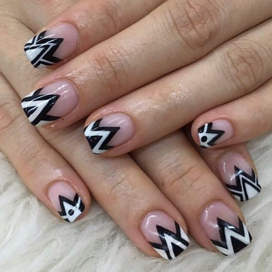 Jagged black and white   nailitdaily