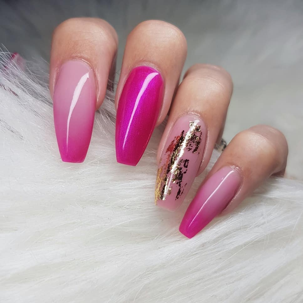 Love this color for summer Nails made with productsFrom Products used: SassysquatchCover PinkSoft Pink Bright Gold Foil from nailsofinstagram