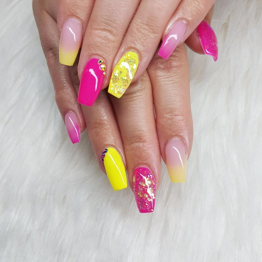 Vacation nails  Nails made with productsFrom Products used: Pop, Lock And DropYellow Jacket Fairy Good! Cover Pink Soft Pinknailsofinstagram