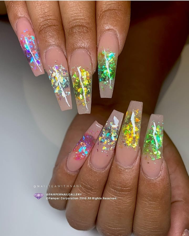 These gemstone nails are super cool!  Get this look with our Mylar Glitter Flakes, available at DailyCharme.com. Nails by from