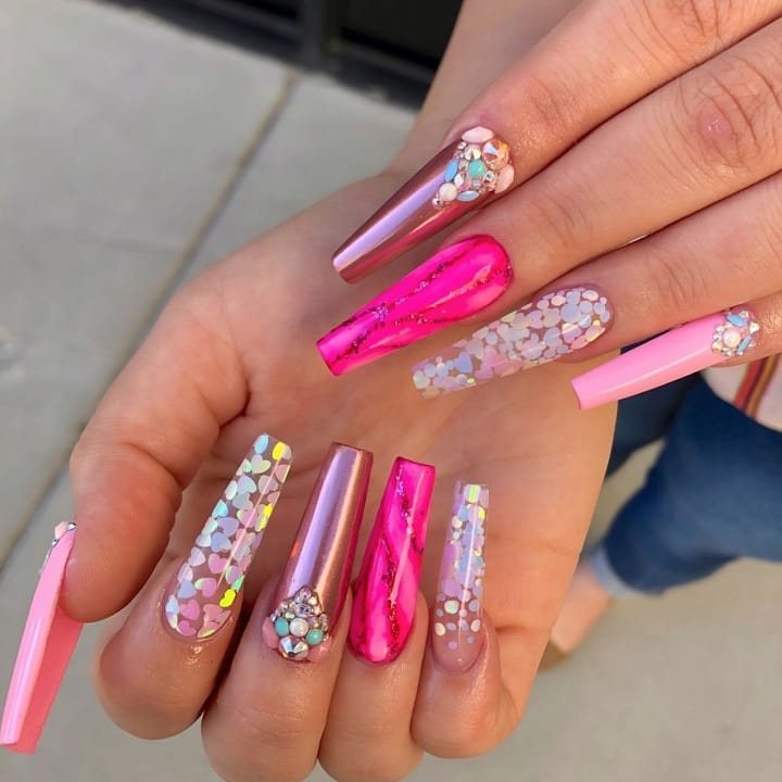 These nails are so dreamy! Get this look with our Pink Chrome Powder, Pastel Iridescent Heart and Unicorn White AB For glitter mixes!  DailyCharme.com