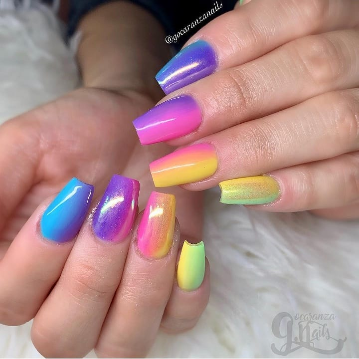 Beautiful  nails by featuring our colors and powder! Featured colors:301 Dollhouse 603 Lemonade704 Garden Party804 Hey Sailor906 Lala LavenderGelNails