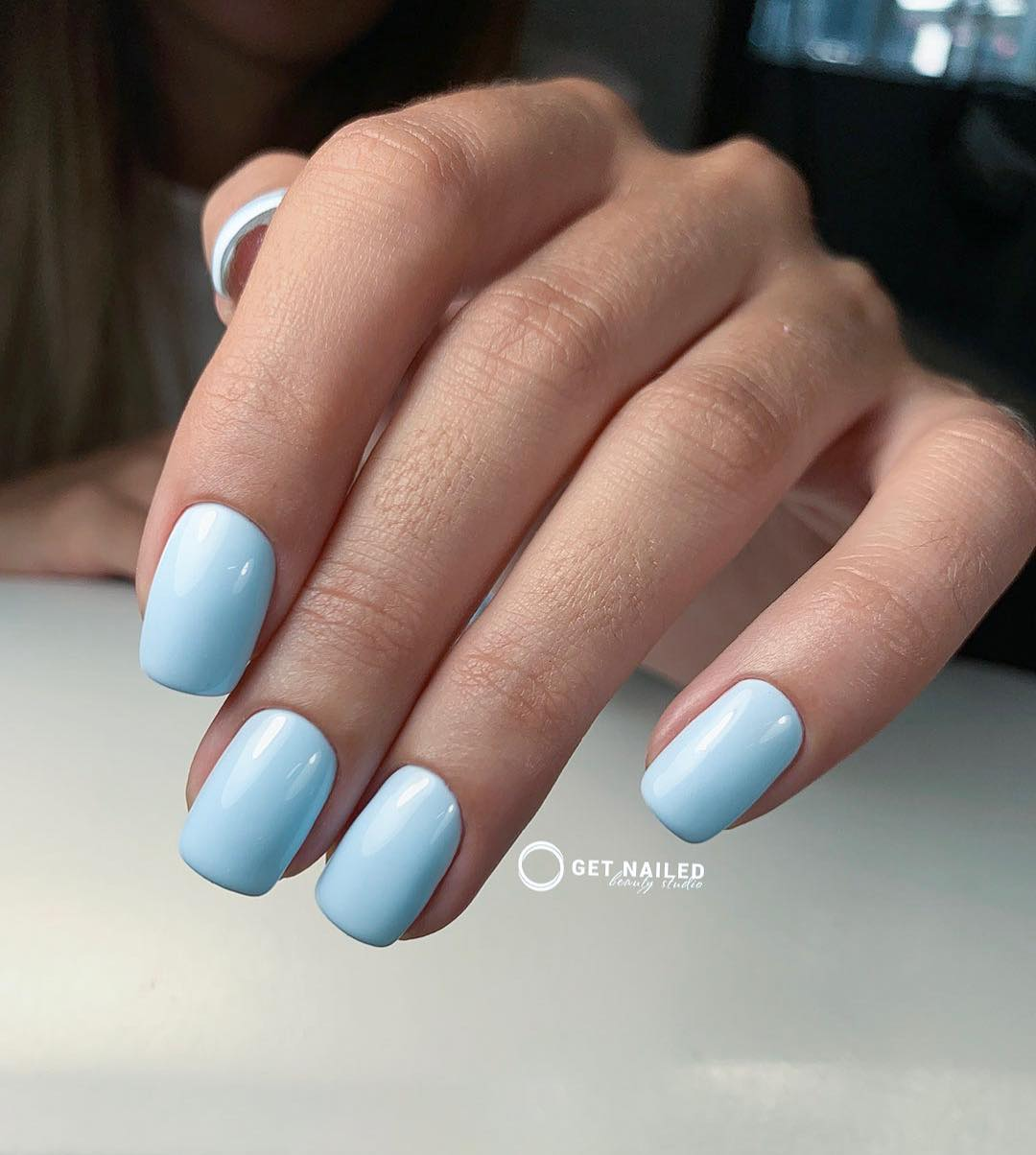 Pastel blue Nails done by KarinaYou can book your appointment on getnailed.co, through DM, WhatsApp +34 680 576 151 or simply by leaving a comment ..luxiogel