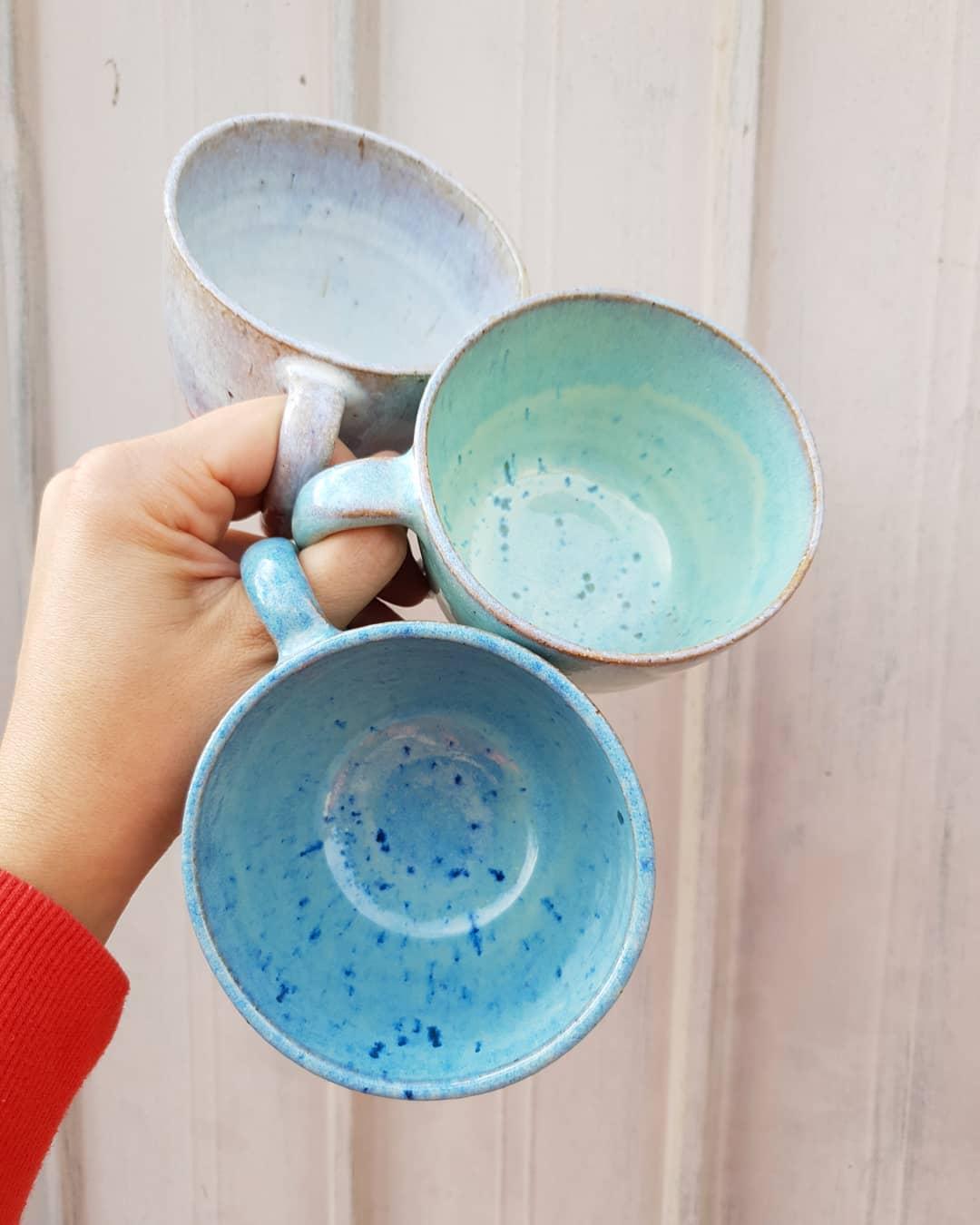 It's what's on the inside that counts!  ceramicsmugsinsidebluegreenwhitewheelthrownpotterymrsfisherspottery