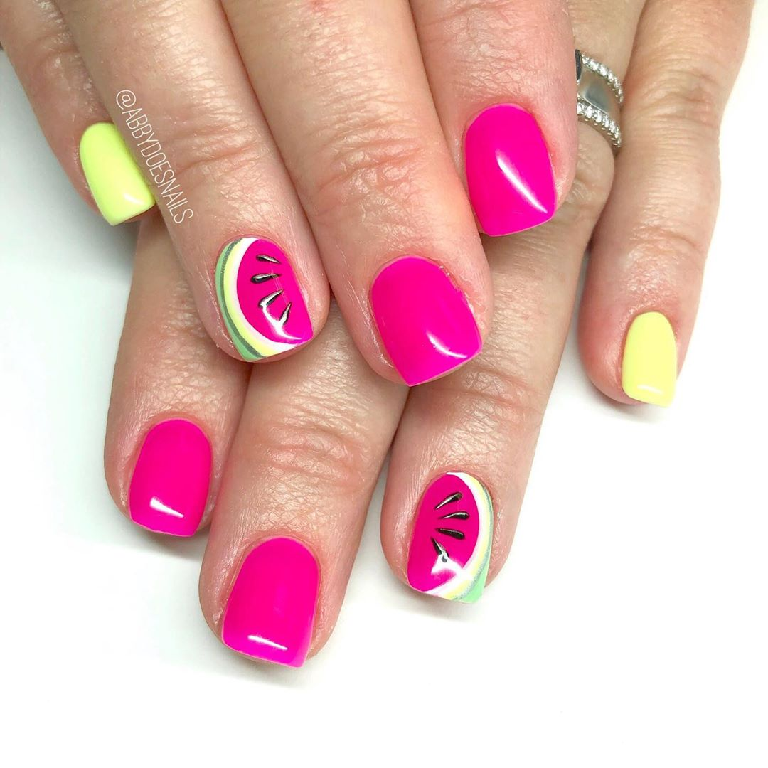 Here are some Pinterest-y neon watermelons  utahcountynails