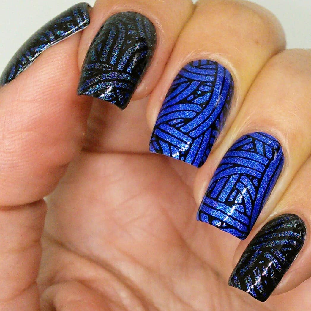 Today's feature is Jailhouse which is the contribution for May's Jailhouse is a gorgeous bright blue holo that you can use as base (middle and ring) and for stamping (rest of nails over black). Gotta love dual use polishes! I used two images from 12-02 plate for the contest. Swipe for macros. ***uberchicbeauty1202
