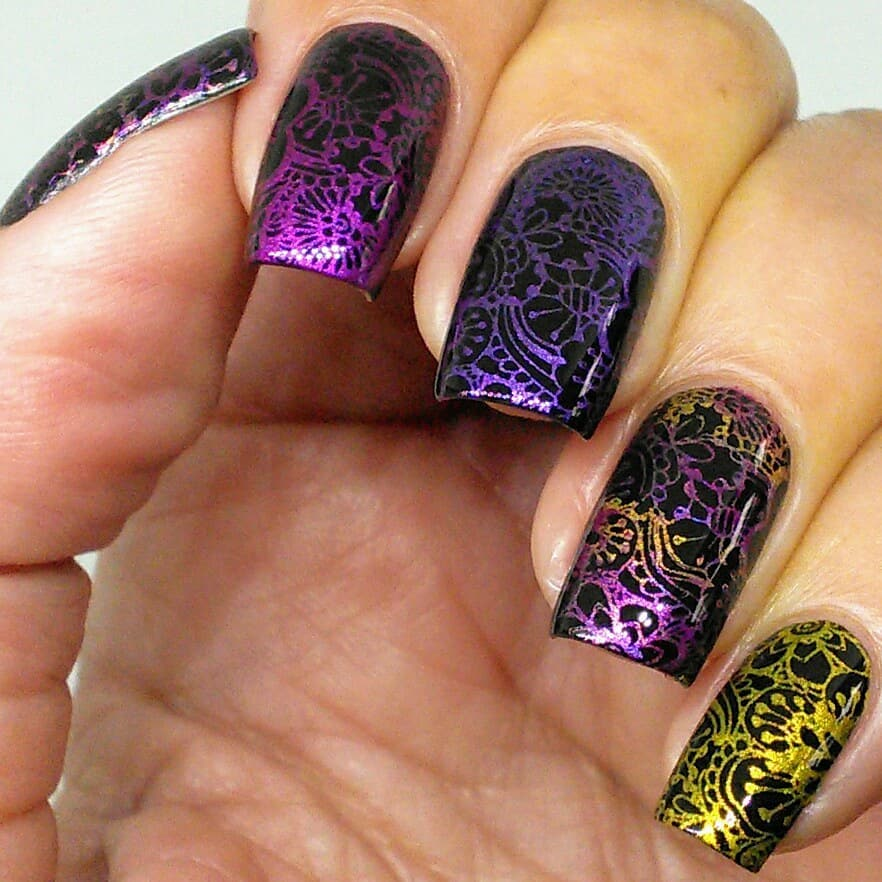 I have a full review of the new Queen of Carnival stamping polish collection from up on my YouTube channel. Spoiler alert: these are really pigmented and show up so well on black! Swipe for bottle pic and way too many macros. Follow Lina for launch information. ***linanailartsuppliesletsdoodle01