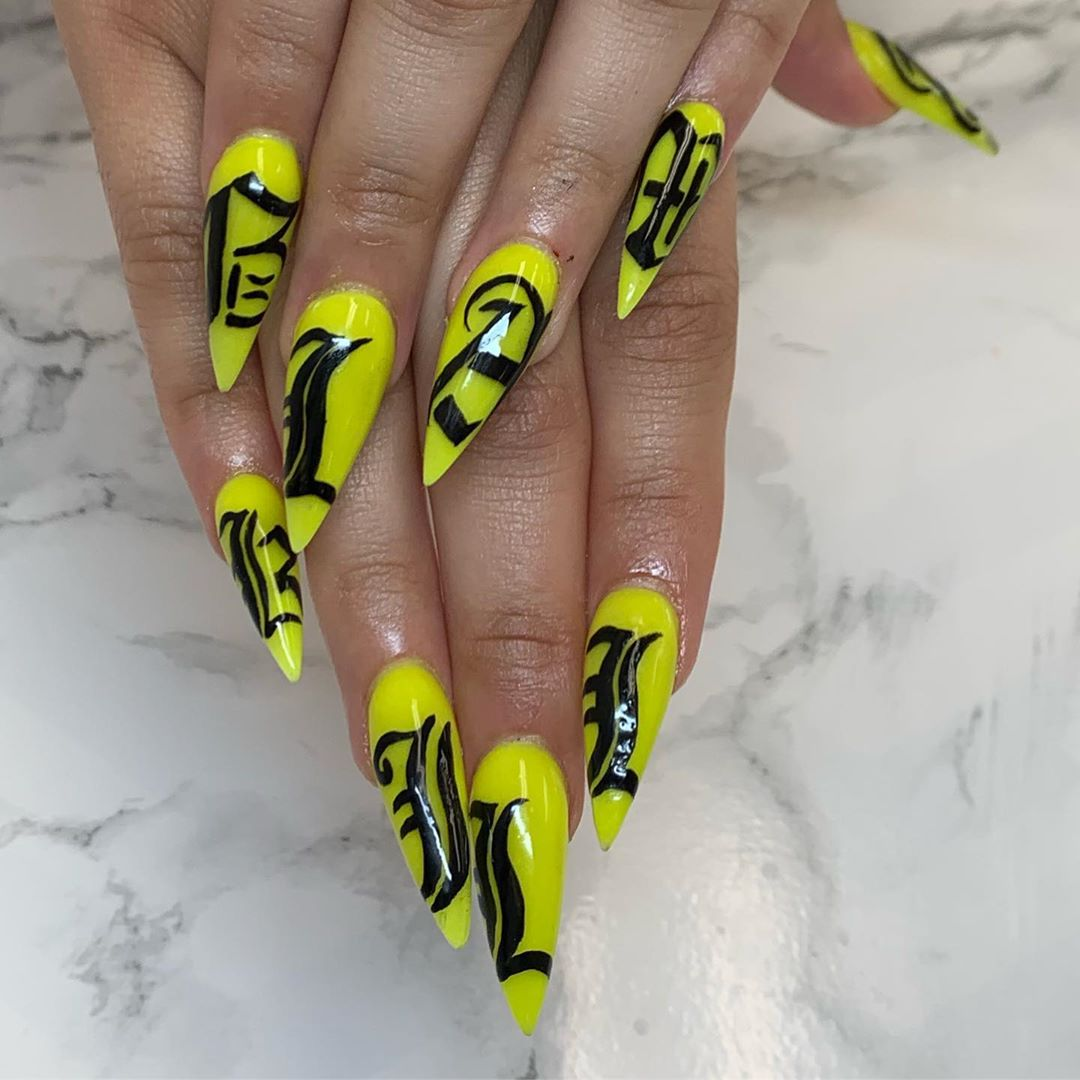 Full set by me using wicked- and old English letters done by  nailsaddict
